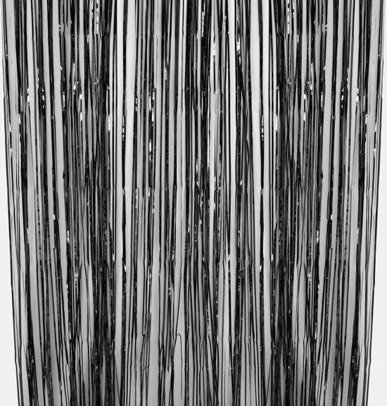 Sliertjes gordijn - zwart 245 x 91 cm Valentinaa