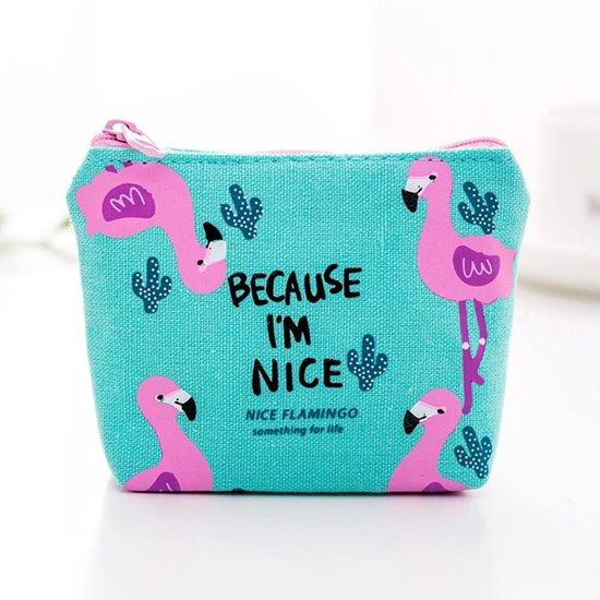 318a867f0e3 ZILOU Mini Portemonnee - Mini Wallet Tasje - Etui - Flamingo - Polyester -  Groen