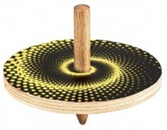 Moses Houten Tol Met Optische Illusie 5 Cm Zwart/geel