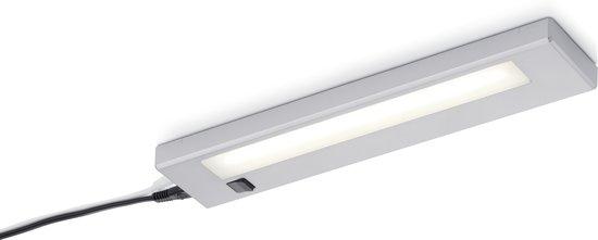 TRIO, Wand lamp, Alino incl. 1 x LED,SMD,4,0 Watt,3000K,350 Lm. Kunststof, Wit, Armatuur: Kunststof, Titaan L:34,0cm, L:7,0cm, H:2,0cm Schakelaar