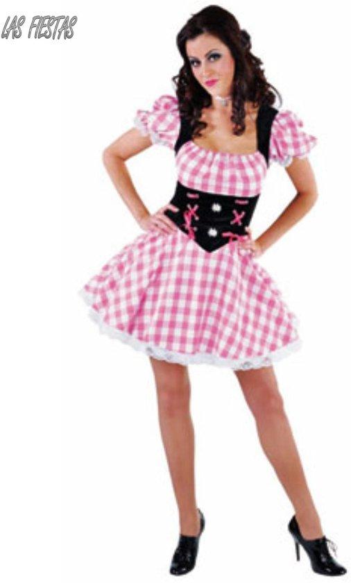 331717e7abf5b6 Roze witte dirndl met Edelweiss - Oktoberfest kleding dames maat 46 48 (XL)