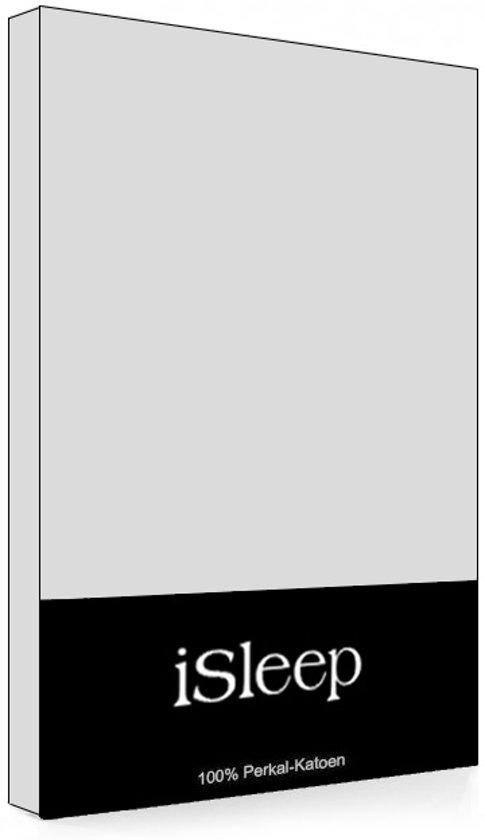 iSleep Perkal Topper Hoeslaken - Tweepersoons - 160x220 cm - Zilver