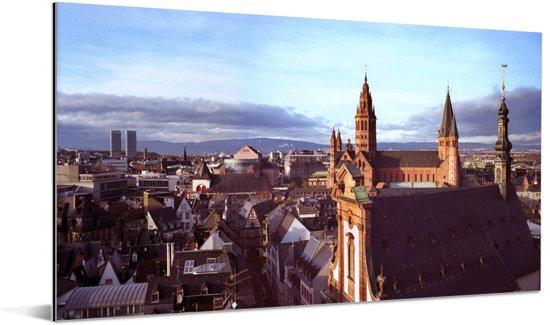 Weergave van de Duitse stad Mainz Aluminium 80x40 cm - Foto print op Aluminium (metaal wanddecoratie)