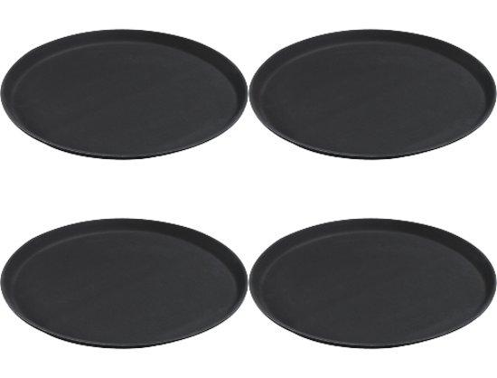 CARLISE Grip Dienblad antislip zwart/bruin 40cm - 4 stuks
