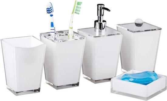 relaxdays badkameraccessoires set vijfdelig badkamer accessoires volledige badkamerset wit