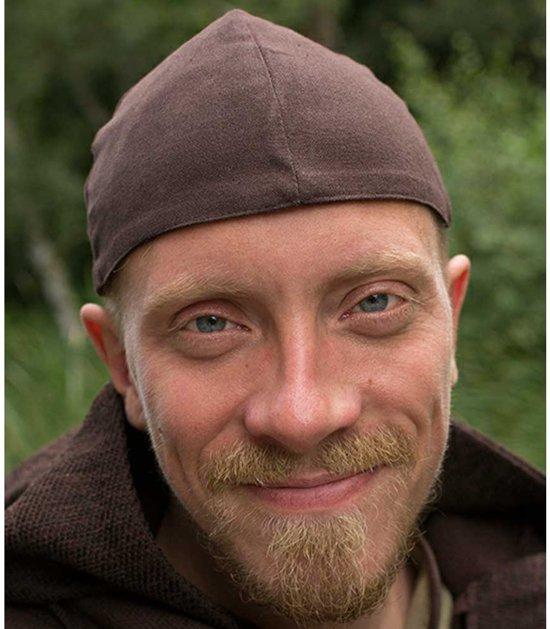 Baldur cap/hoedje donker bruin - LARP kostuum fantasy middeleeuws - L - Iron Fortress