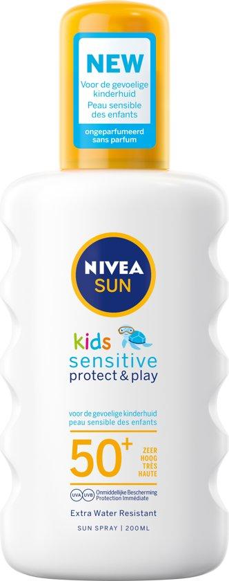 NIVEA SUN Kids Zonnebrand - Protect & Sensitive Zonnespray - SPF 50+ - 200 ml