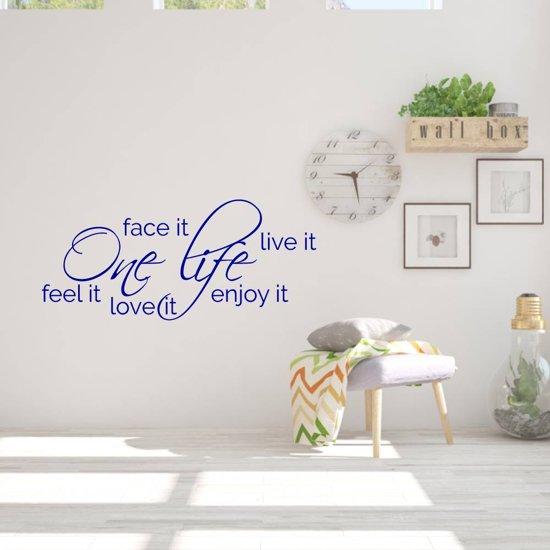 Muurtekst One Life -  Donkerblauw -  120 x 53 cm  - Muursticker4Sale