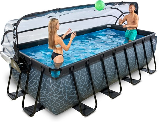 EXIT zwembad Stone 400x200cm met overkapping en filterpomp - grijs