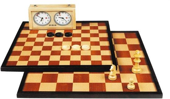 Longfield Games Schaak/Dambord Hout exclusief stukken