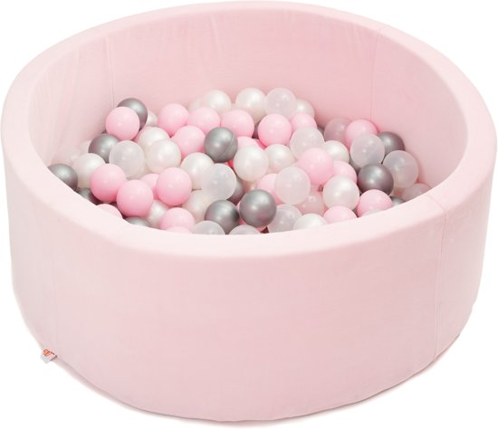 FUJL - Ballenbak - Speelbak - Roze - ⌀ 90 cm - 200 ballen - Zilver - Parel - Roze - Transparant