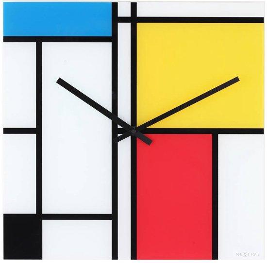 NeXtime Time Lines - Klok - Glas - 43x43 cm - Multicolor