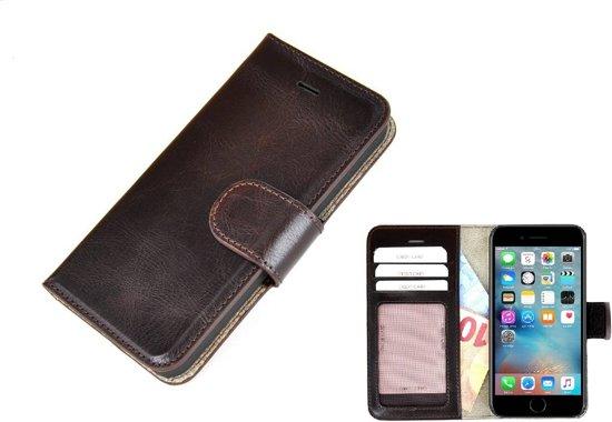 Apple iPhone 7 Echt Leder Wallet Bookcase Portemonnee Hoesje - Donkerbruin