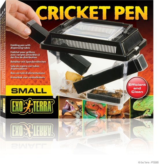 Exo Terra - Cricket Pen Krekelbak Small 3 Buizen En 2 Spons Zwart - 20x15x12 cm