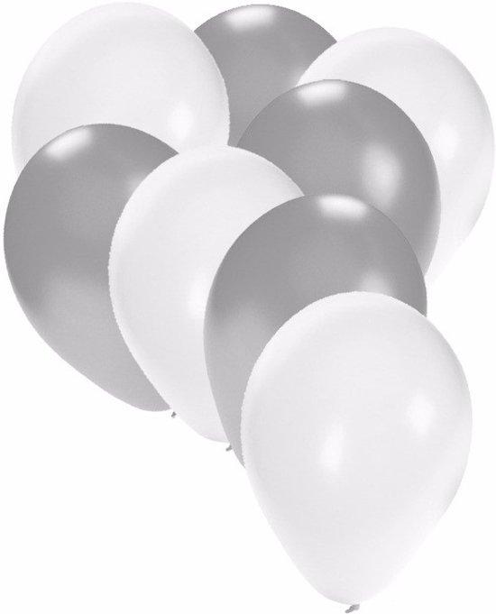 30x ballonnen wit en zilver