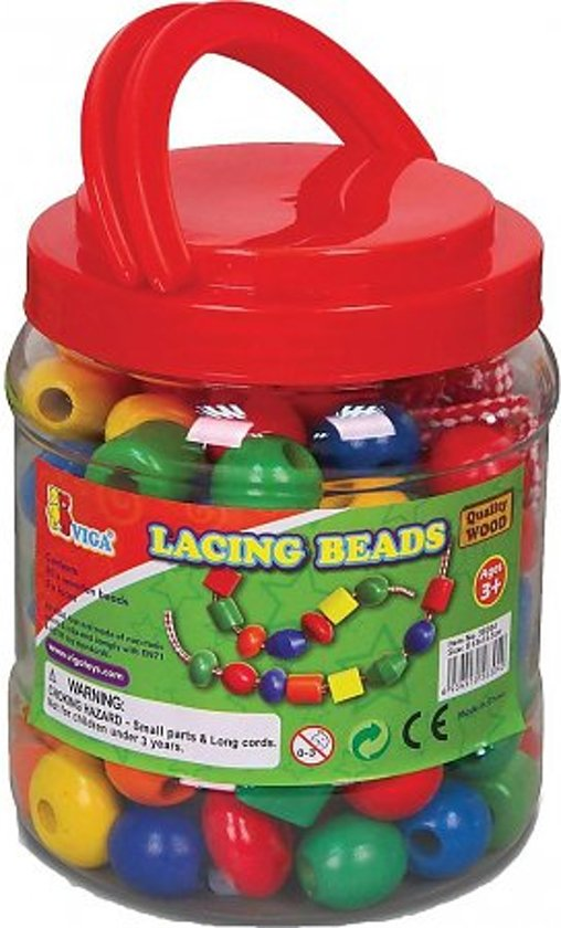 Viga Toys - Grote Houten Rijgkralen - 30 stuks
