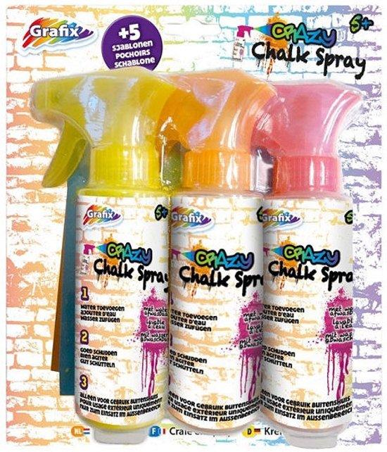 Afbeelding van het spel Stoepkrijt spray 3 stuks met 5 sjablonen