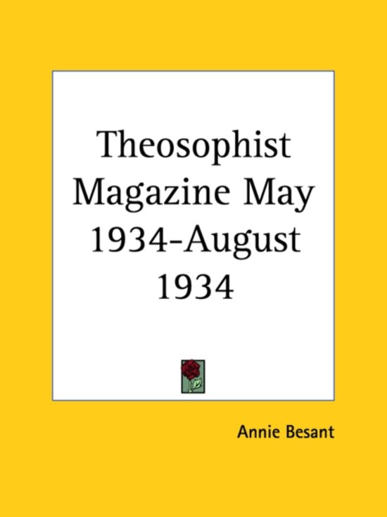 Theosophist Magazine (May 1934-August 1934)