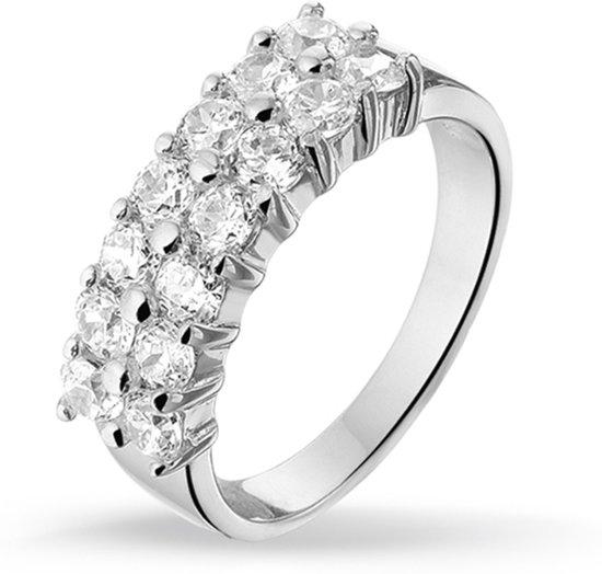 Silventi 943281376-58 Zilveren ring - met Zirkonia - 2 Rijen - Zilverkleurig