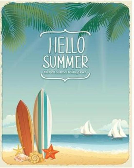 Hello summer Notebook journal With Lined 118 Pages Size 8 x 10