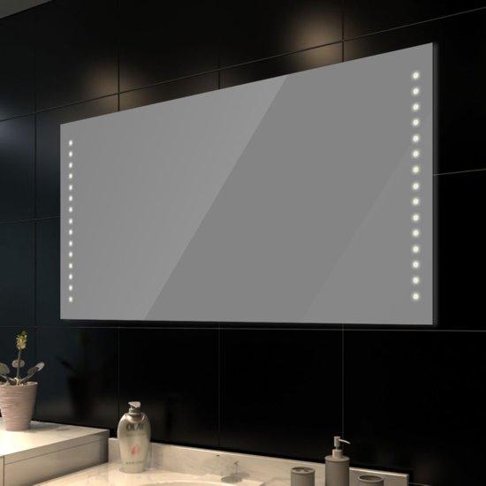 vidaxl badkamerspiegel met led verlichting spiegel glas 60x100 cm transparant