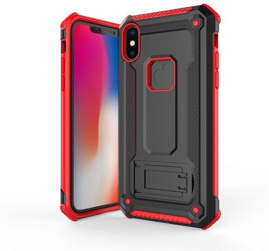 Ntech Apple iPhone Xr Armor hoesje met Kickstand - Zwart & Rood