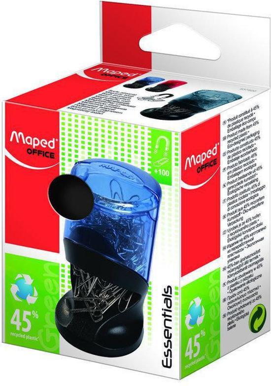 Essentials Green papercliphouder - grijs/zwart - met 100 paperclips