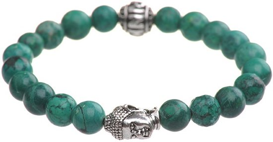 Pinkiezz - Buddha armband - groen met zilverkleurige buddha