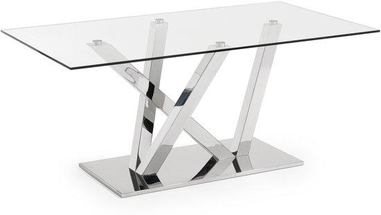 Mooie Glazen Eettafel.Bol Com Eettafel Uve Glas Metaal Glans 75x180x100