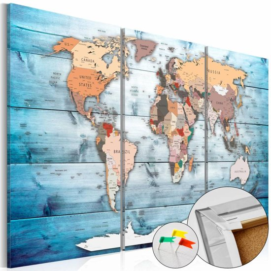 Afbeelding op kurk - Blauwe wateren, wereldkaart  3 luik