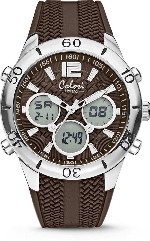 Colori Holland 5-CLD138 - Horloge - siliconen band - bruin - 43 mm