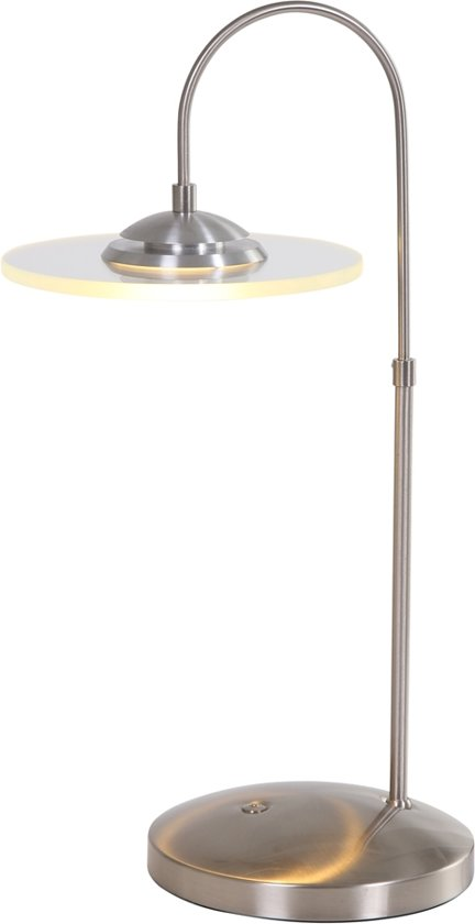 Steinhauer Roundy LED - Tafellamp - 1 lichts - LED - Built-in push dimmer - Staal - Ø 15 cm