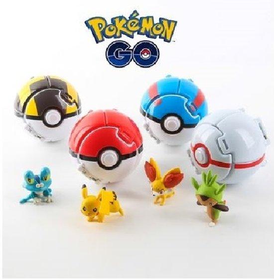 Afbeelding van Pokemon ballen 4x met pokemon figuur