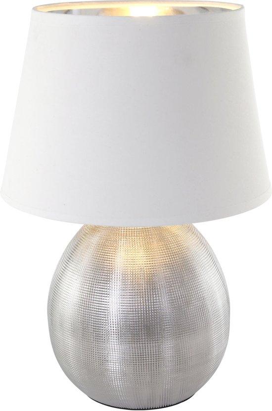 bol reality luxor tafellamp zonder lichtbron wit zilver
