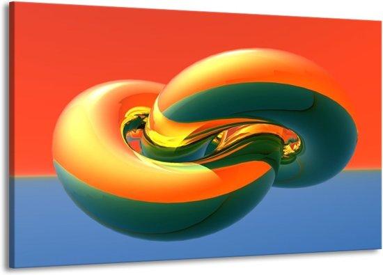 Canvas schilderij Abstract   Goud, Groen, Rood   140x90cm 1Luik