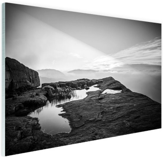 FotoCadeau.nl - Natuurfoto zwart-wit Glas 90x60 cm - Foto print op Glas (Plexiglas wanddecoratie)