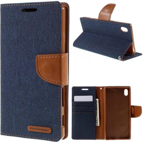Mercury Goospery - Sony Xperia Z5 Hoesje - Wallet Case Canvas Donker Blauw in Vlekkem