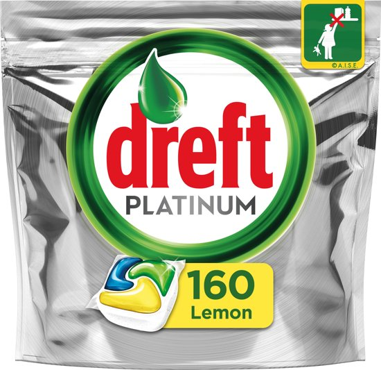 Dreft Platinum Citroen - Halfjaarbox 4x40 Stuks - Vaatwastabletten