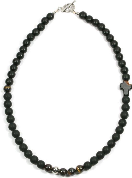IbizaMen - heren ketting - kralenketting zwart hout 8mm - tijgeroog kralen - maat 50cm