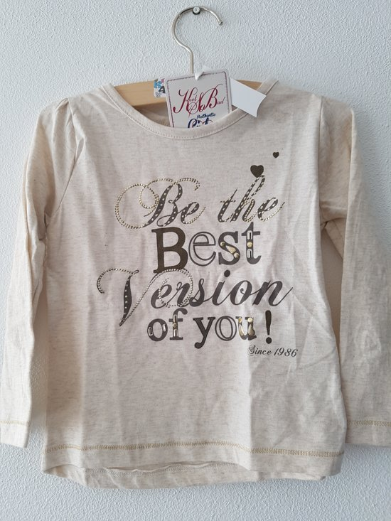 Knot so Bad-meisjes-shirt/longsleeve-Be the Best-kleur: ecru-maat 110
