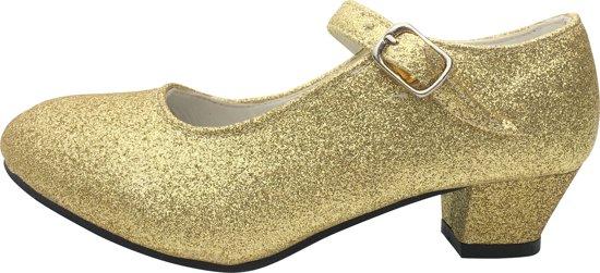 Spaanse Prinsessen schoenen goud glitter maat 29 (binnenmaat 18,5 cm) bij jurk