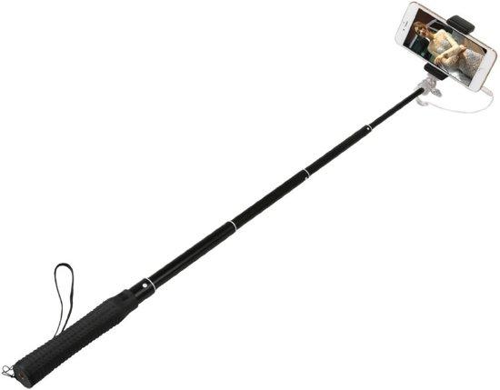 Selfie Stick met ingebouwde Button zelf ontspanner (geen bluetooth nodig) Zwart voor iPhone 4, 4s, 5, 5s, 5c, 6 en 6 Plus, Samsung S4,  S5 en S6