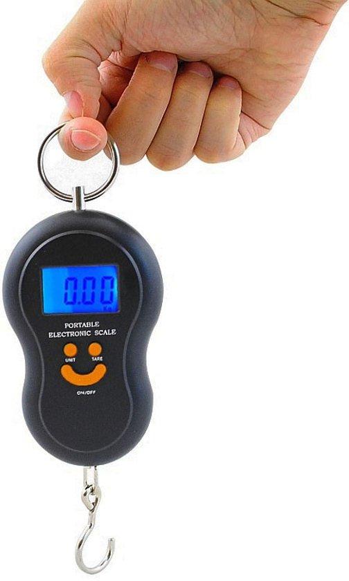 Digitale weegschaal met LCD scherm - Kofferweegschaal - Kofferweger - Bagageweger - Vis weegschaal - Hangweegschaal - Precisie haak - Inclusief batterijen - Tot 40 kg