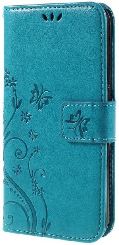 Book Case Hoesje Bloemen Samsung Galaxy S6 - Blauw