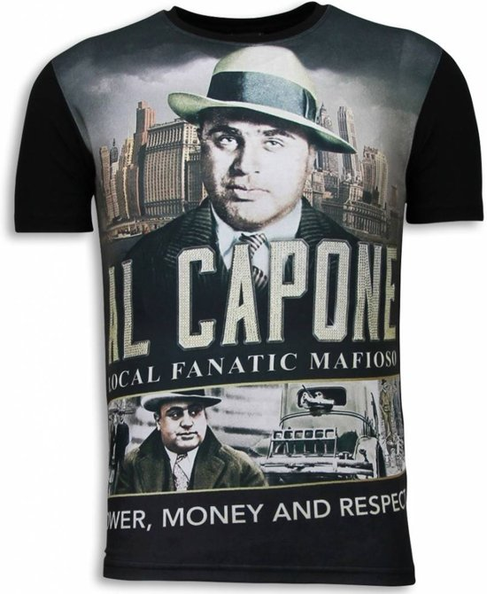 Local Fanatic Al Capone Mafioso - Digital Rhinestone T-shirt - Zwart - Maten: XXL