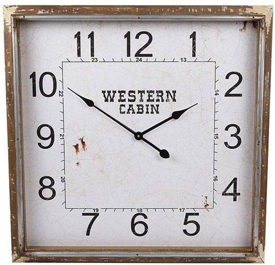 Wandklok Western Vierkant - 70,2x8,5xH70,2 cm