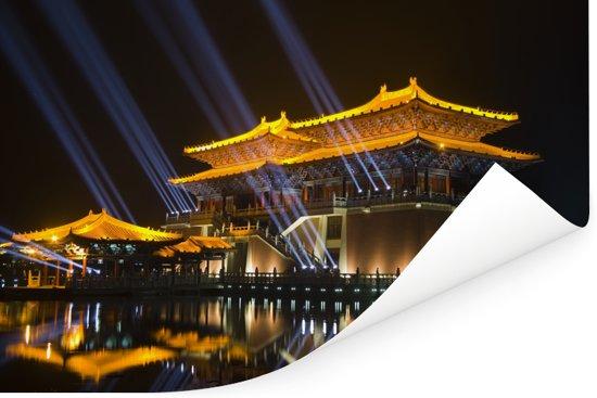 Chinese architectuur in Kaifeng Poster 180x120 cm - Foto print op Poster (wanddecoratie woonkamer / slaapkamer) / Aziatische steden Poster XXL / Groot formaat!