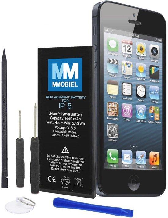 MMOBIEL Batterij / accu geschikt voor iPhone 5, Batterij Li-Ion 3.8V 1440mAh 5.45Wh inclusief 2x  schroevendraaiers, plectrum, zuignap en een stap voor stap handleiding.