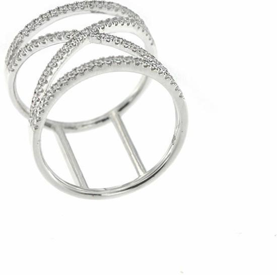 Classics&More - Zilveren ring met steen Maat 56 - Breed - Zirkonia - Kruis - Sigarenband