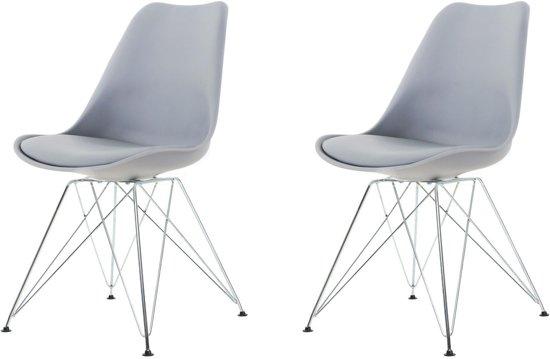 Licht Grijze Stoel : Bol.com metal stoel lichtgrijze zitting chroom onderstel set